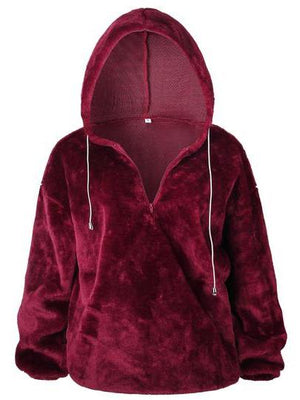 Solid Color Long Sleeve Zipper Hoodie