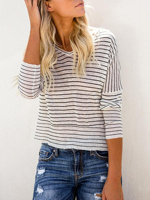 V-neck Striped Bat Long Sleeve T-shirt