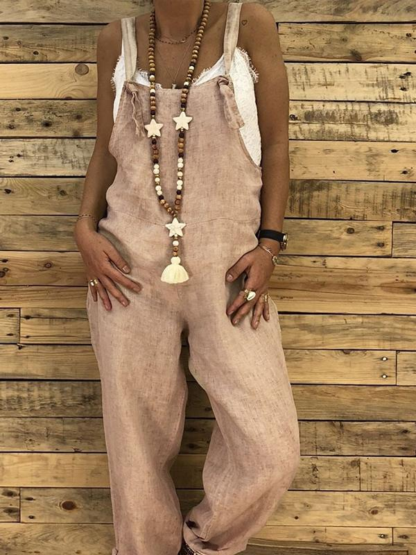 Solid Pocket Suspender Pants without Necklace