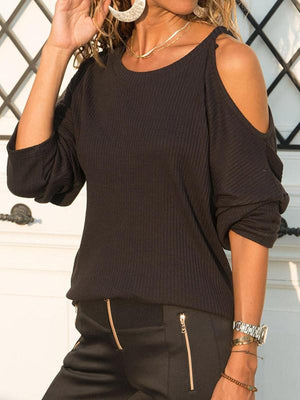 Solid Color Off Shoulder T-shirt