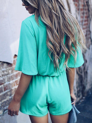 Solid Color Elastic Tie Front Jumpsuits
