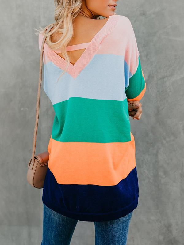 Colorblock V-Neck Sweater