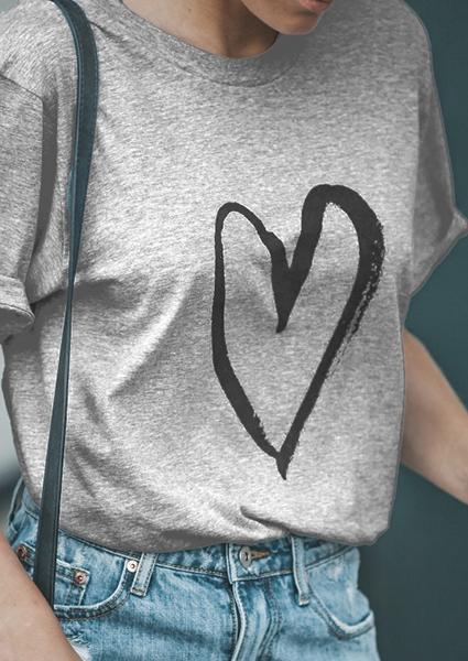 Love Heart Print T-shirt