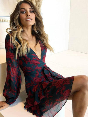 Deep V Floral Lace Up Mini Dress