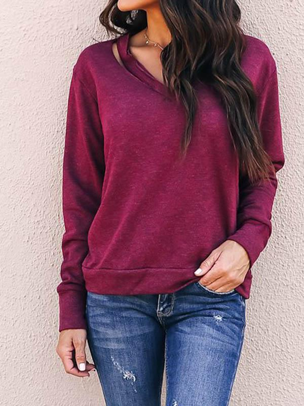 Off Shouder Solid Color Cut Out Sweatshirt