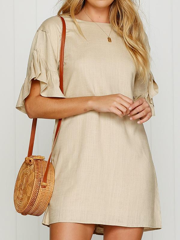 Solid Color Lotus Sleeve Mini Dress