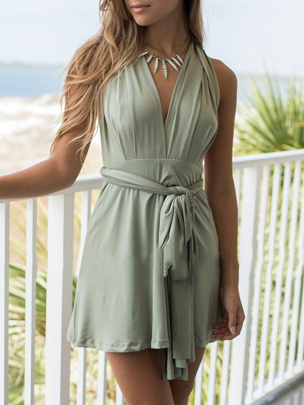 Solid Color V-Neck Slip Halter Dress