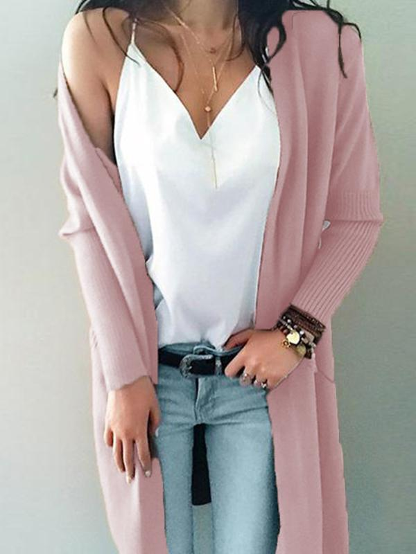 Solid Color Long Pocket Sweater