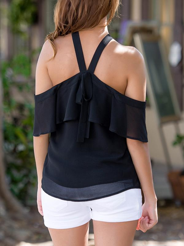 Solid Color Strap Off-Shoulder Blouse-Blouse-Fechicin.com