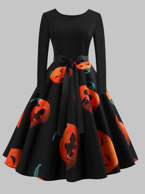Retro Long Sleeve Halloween Cocktail Dress