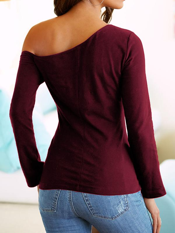 Solid Color One Shoulder Long Sleeve T-shirt