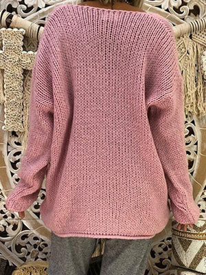 Solid Color V-Neck Irregular Sweater