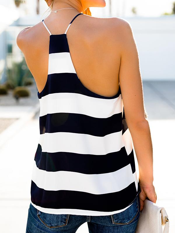 Blue And White Stripe Slip Tank-Tanks-Fechicin.com