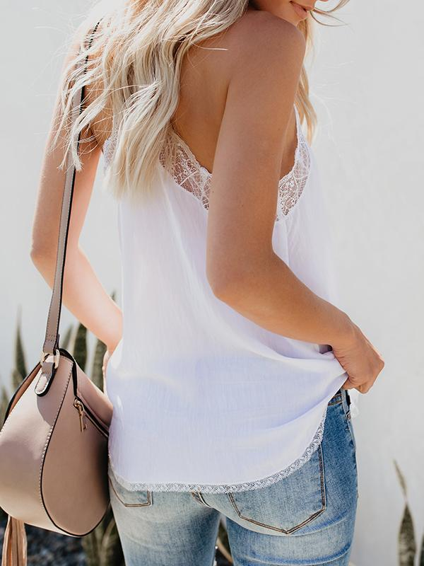 Solid Lace Splicing Camisole