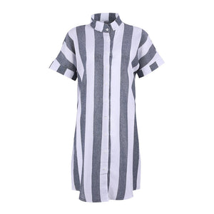 Striped Loose Mini Dress With Button-Mini Dress-Fechicin.com