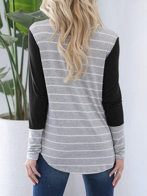 Stacked Collar Striped Stitching T-shirt