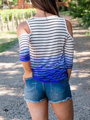Striped Off The Shoulder Contrast T-shirt