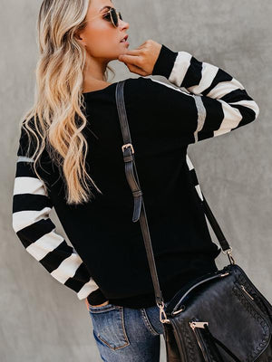 Striped Stitching Pullover Blouse