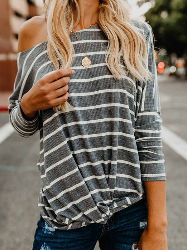 O-Neck Striped Twist Blouse