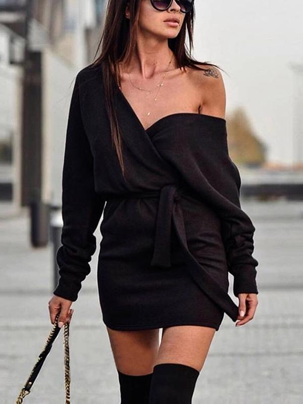 Deep V Slim Long Sleeve Dress