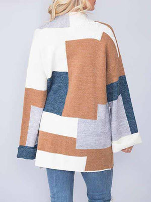 Splice Long Sleeve Loose Cardigan