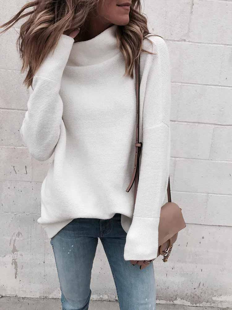 Solid Color Long Sleeve Knit Sweatshirt