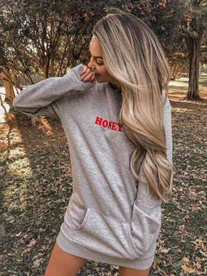 Honey Print Hooded Long Sleeve Hoodie