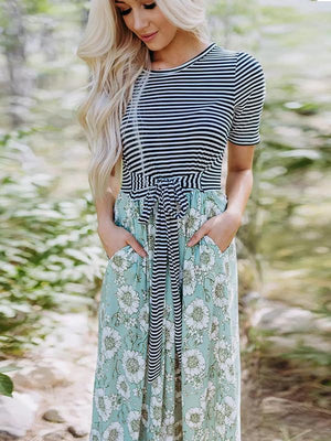 Floral Striped Tie Splicing Maxi Dress