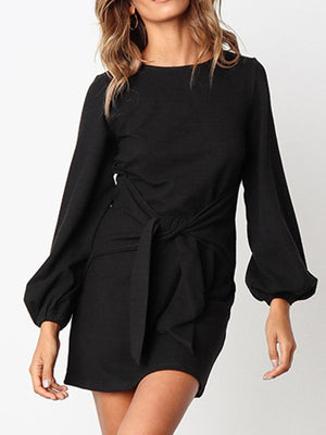 Loose Casual Front Tie Long Sleeve Dress