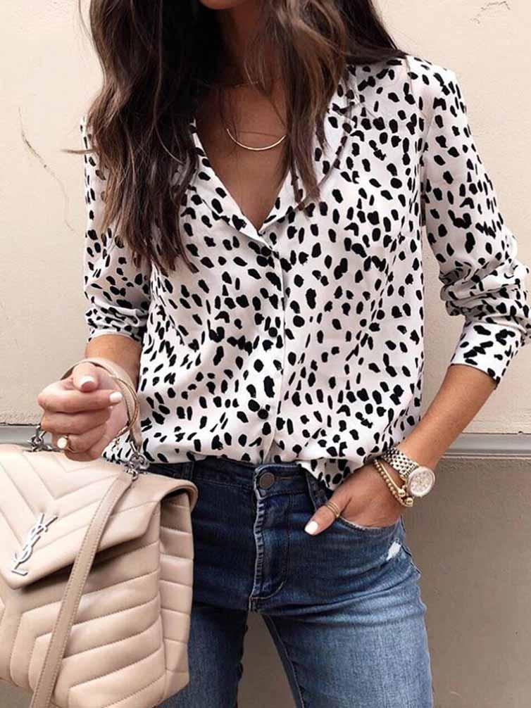 Leopard Print V-neck Long Sleeve Blouse