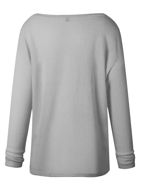 V-neck Solid Loose Sweater-Hoodies & Sweatshirts-Fechicin.com