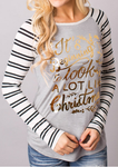 Christmas Letter Printed Striped Splicing Tee
