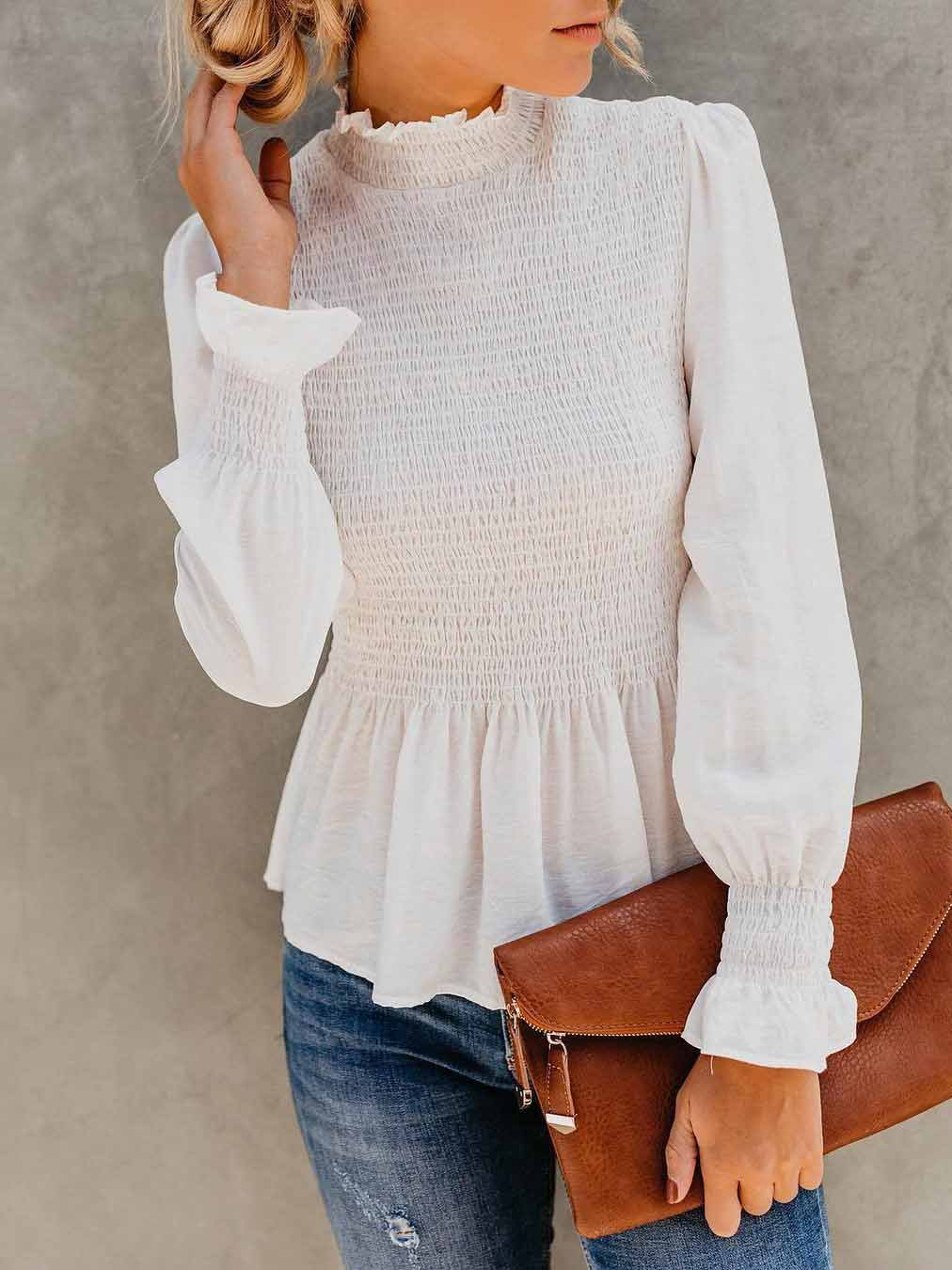 Solid Color Trumpet Sleeves Blouse