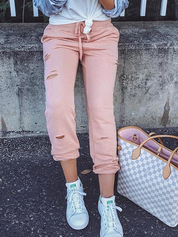 Solid Color Hollow Out Drawstring Pants