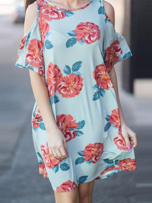 Floral Printed  Lotus Sleeve Mini Dress