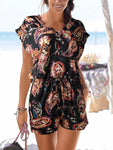 V-neck Short Sleeve Printed Jumpsuit