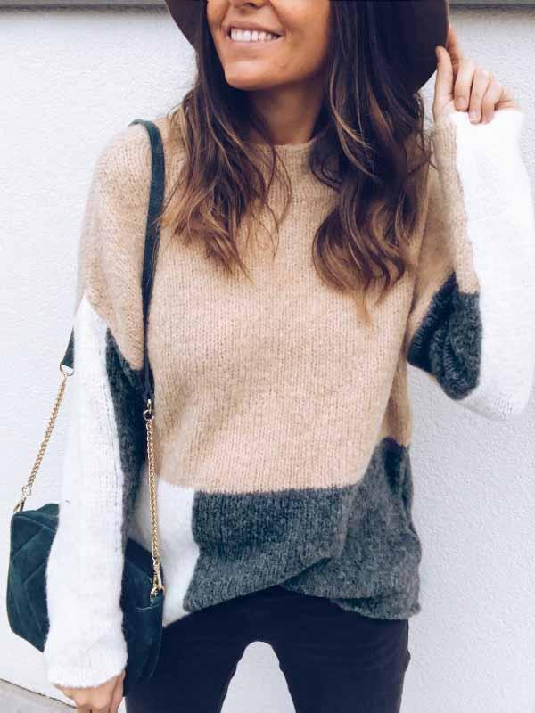 O-neck Splice Warm Sweater