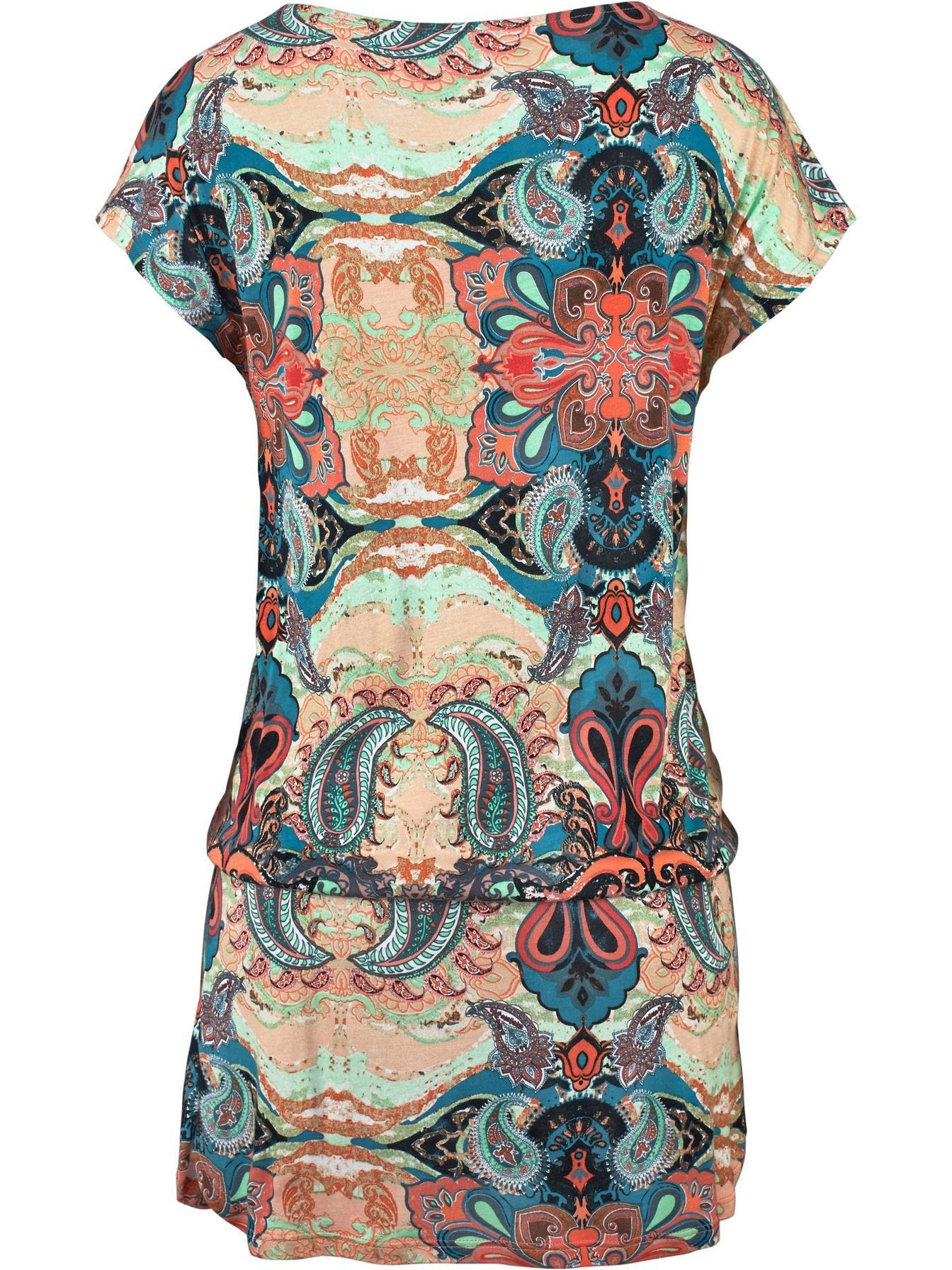 Printed Short-sleeved Beach Dress-Maxi Dress-FeChicin.com-FeChicin.com
