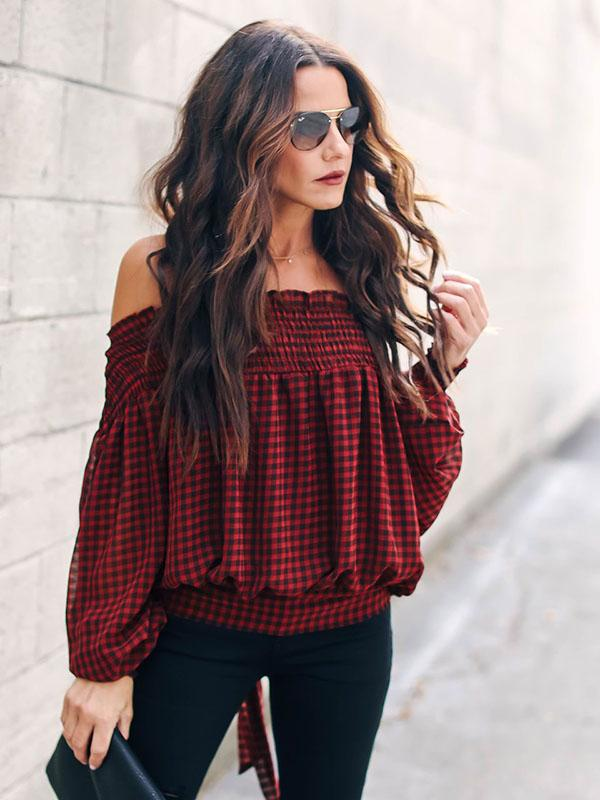 Off Shoulder Plaid Ruffled Blouse