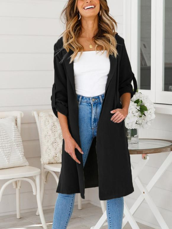 Women's Casual Long Sleeve Lapel Outwear Trench Coat Cardigan-Cardigans & Coats-Fechicin.com