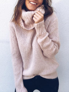 Casual Solid Color Long-Sleeved Turtleneck Knitting Sweaters