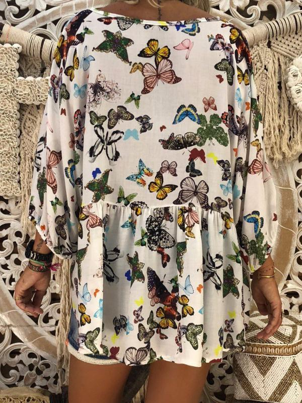 Fashion Butterfly Print Loose Long Sleeve T-Shirt