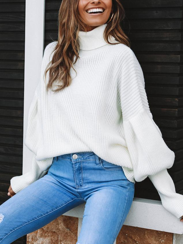 Fashion High Collar Long Sleeve Solid Color Sweater