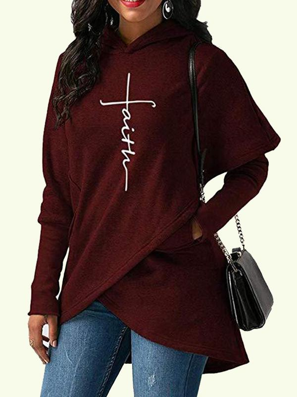 Faith Printed Irregular Hooded Blouse
