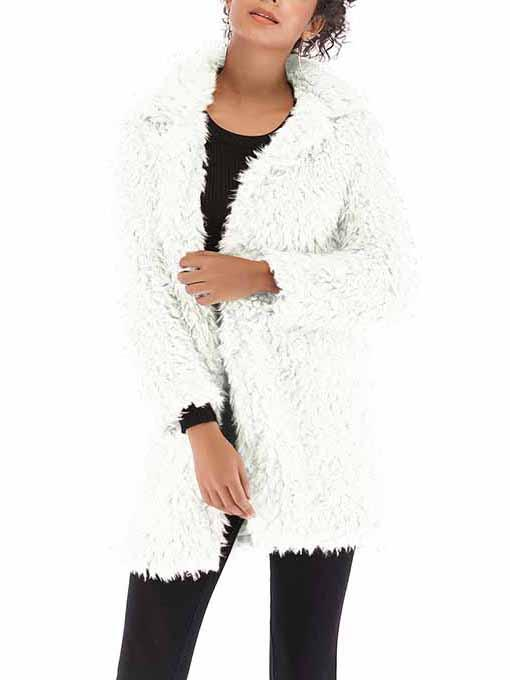 Solid Color Long Sleeve Faux Fur Jacket