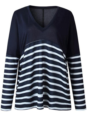 Deep V Stripe Splice T-shirt