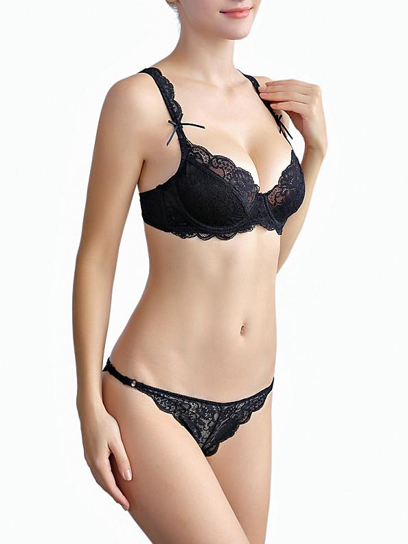 See Through Lace Bow Sexy Bra Set-Sexy Lace-Fechicin.com
