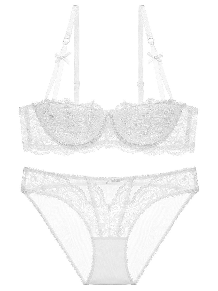 1/2 Cup Fashion Bow Sexy Lace Bra Set-Sexy Lace-Fechicin.com