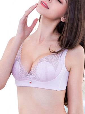 Ultra Thin Crystal Cup Lace Bra-Plus Size Bras-Fechicin.com