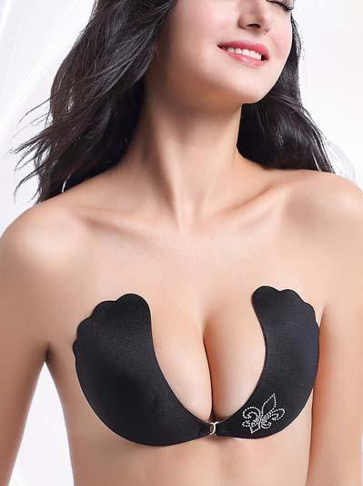 Front Buckle Strapless Push Up Silicone Bra